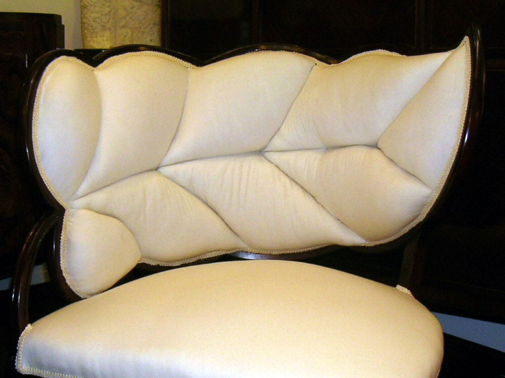A Pair Of French Art Deco Leaf Form Upholstered Chairs For Sale 2