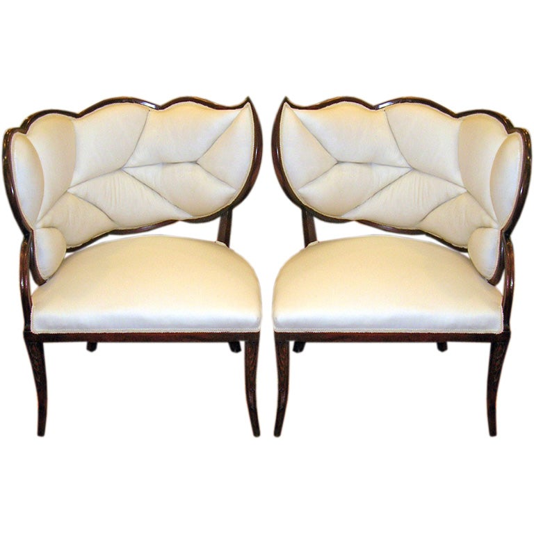 A Pair Of French Art Deco Leaf Form Upholstered Chairs For Sale