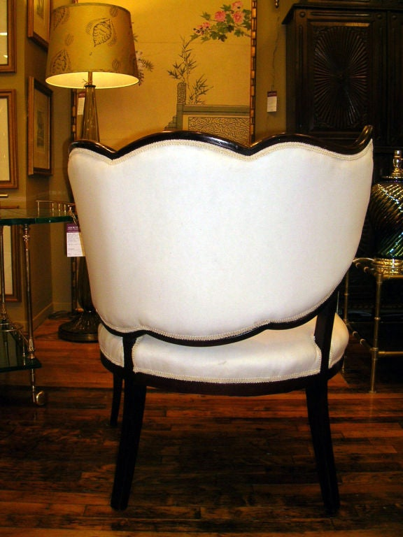 Mid-20th Century A Pair Of French Art Deco Leaf Form Upholstered Chairs For Sale