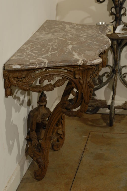 A French Louis XV Period Carved Wood Console Table With Marble Top From The  Mid