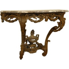 French Louis XV Period Carved Wood Console Table with Marble Top, circa 1760