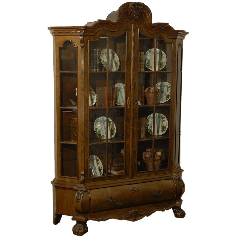 Dutch Rococo Revival 1890s Bombé Vitrine with Glass Doors and Single Drawer
