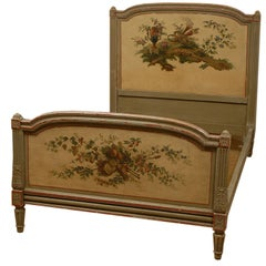 French Louis XVI Period 1770s Hand-Painted Wooden Bed with Floral Décor