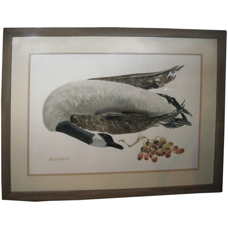 Watercolor Painting of a Goose with Grapes by Paul Hodgu