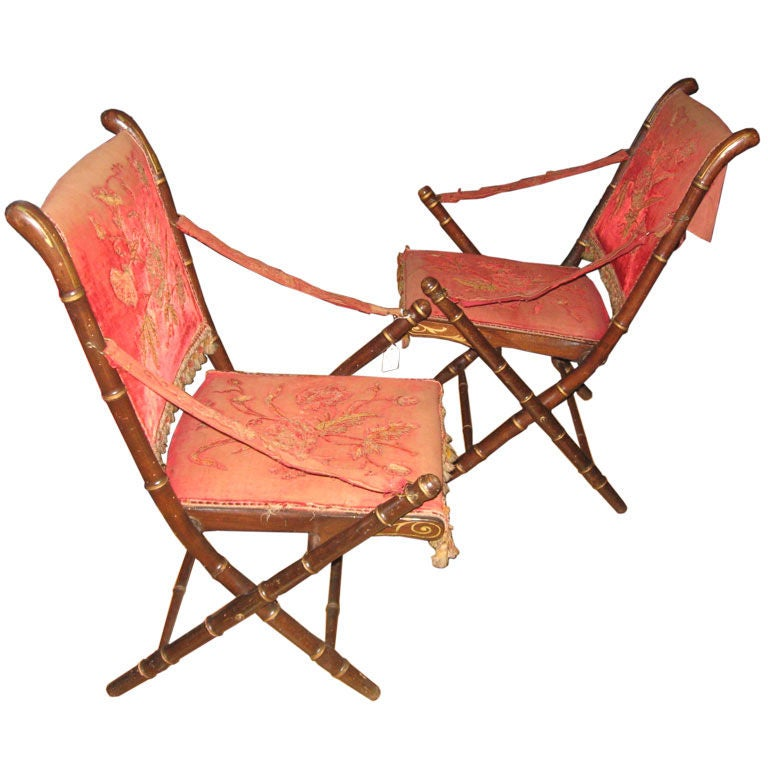 Pair of Faux Bamboo Folding Chairs at 1stdibs