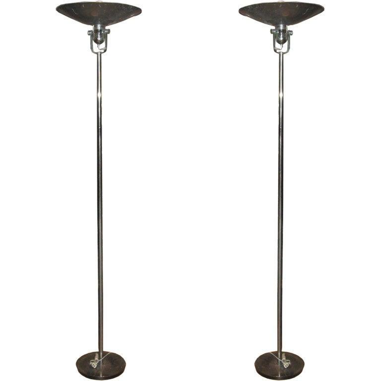 Nessen Midcentury Pair of Chrome Standing Lamps