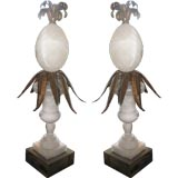 Pair of Alabaster and Gilded Tin Pineapple Lamp Bases
