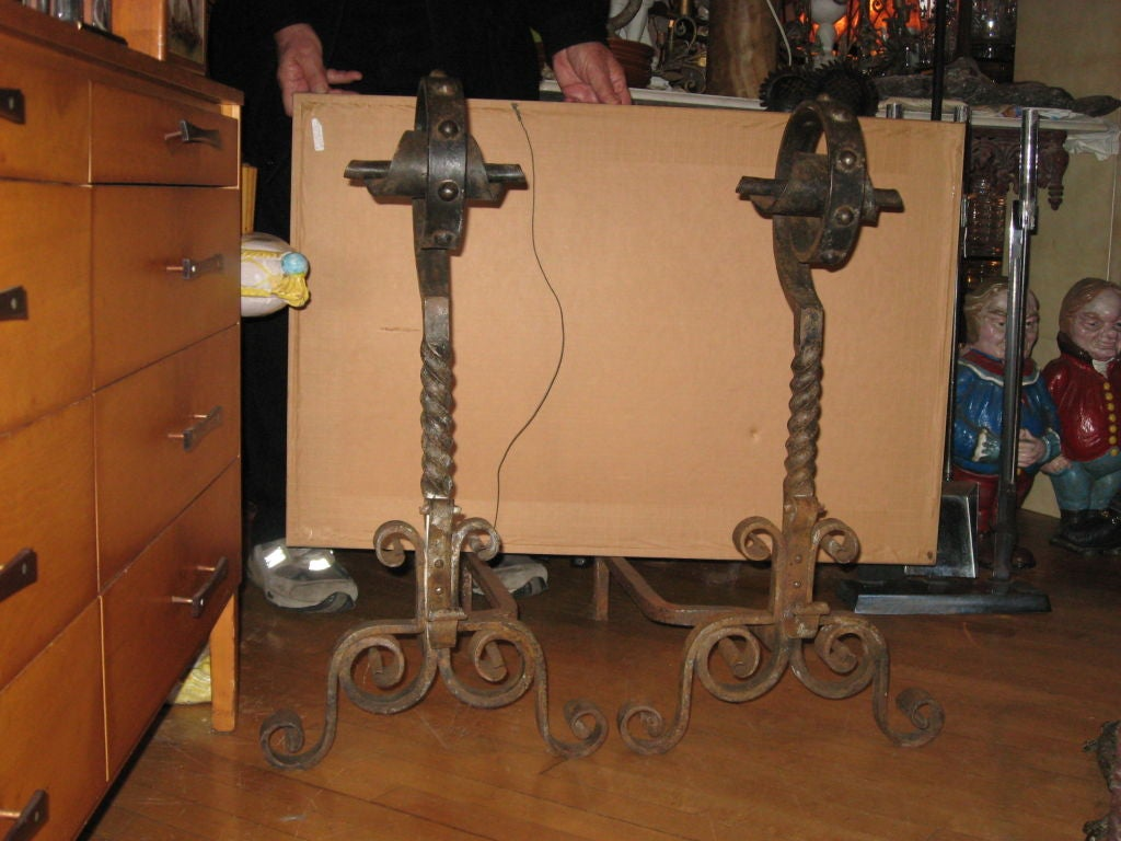 Massive Pair of Hand Forged Early 20th Century Andirons with Removable Cross Bar -Hampton Location