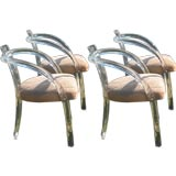 Set of Four Pace Collection Lucite Arm Chairs