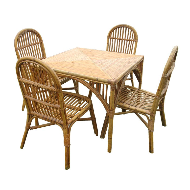 this 50 39 s stick wicker game dining table and chairs is no longer