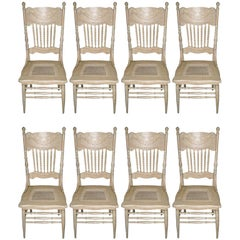 Set of Eight Turn of the Century  American Dining Chairs