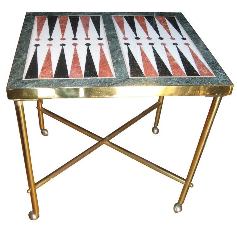 custom midcentury brass and marble backgammon table at 1stdibs. Black Bedroom Furniture Sets. Home Design Ideas