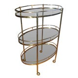 Micentury Three Tier Brass Bar/Serving Cart