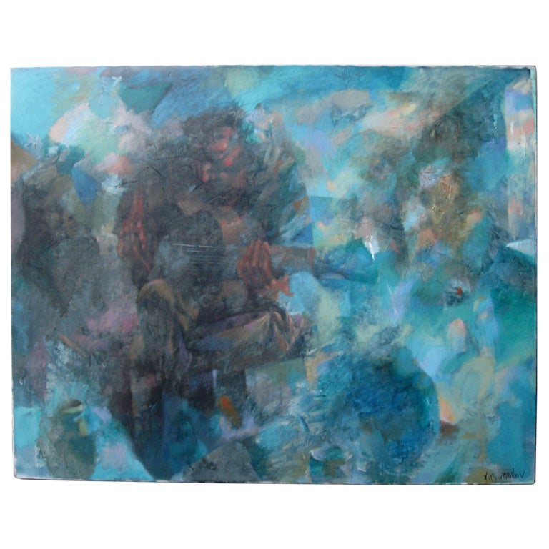 Semi Abstract Oil Painting by Ilias Muratov For Sale