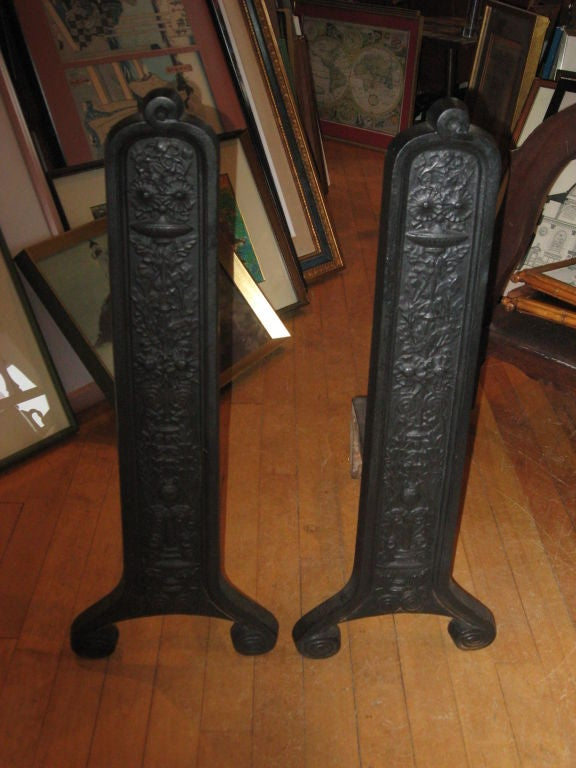 Pair of iron Eastlake Andirons by Smith & Anthony Stove Co. copyright 1886.