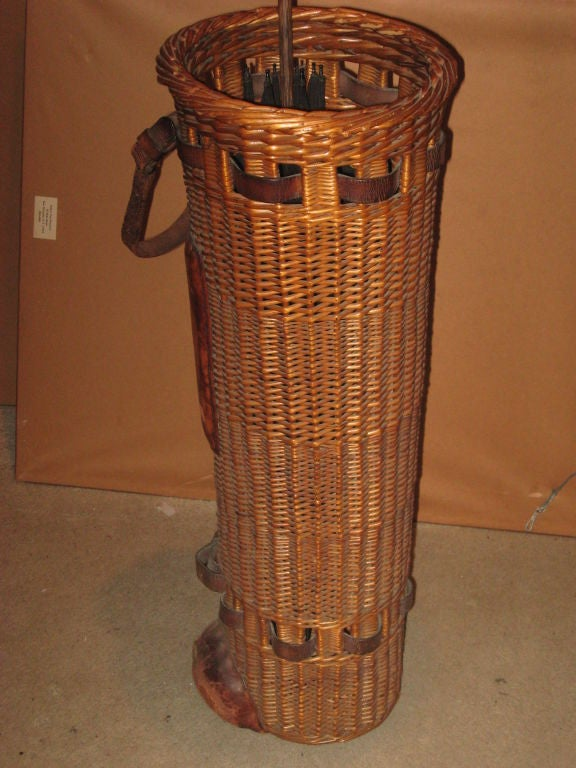 Rare Early Arts And Crafts Wicker Golf Or Cane Holder For