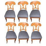 Set of Six Biedermeier 19thc Fruitwood Dining Chairs