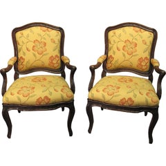 Pair Transitional Fauteuils a la Chasse in Walnut, Italy c. 1770