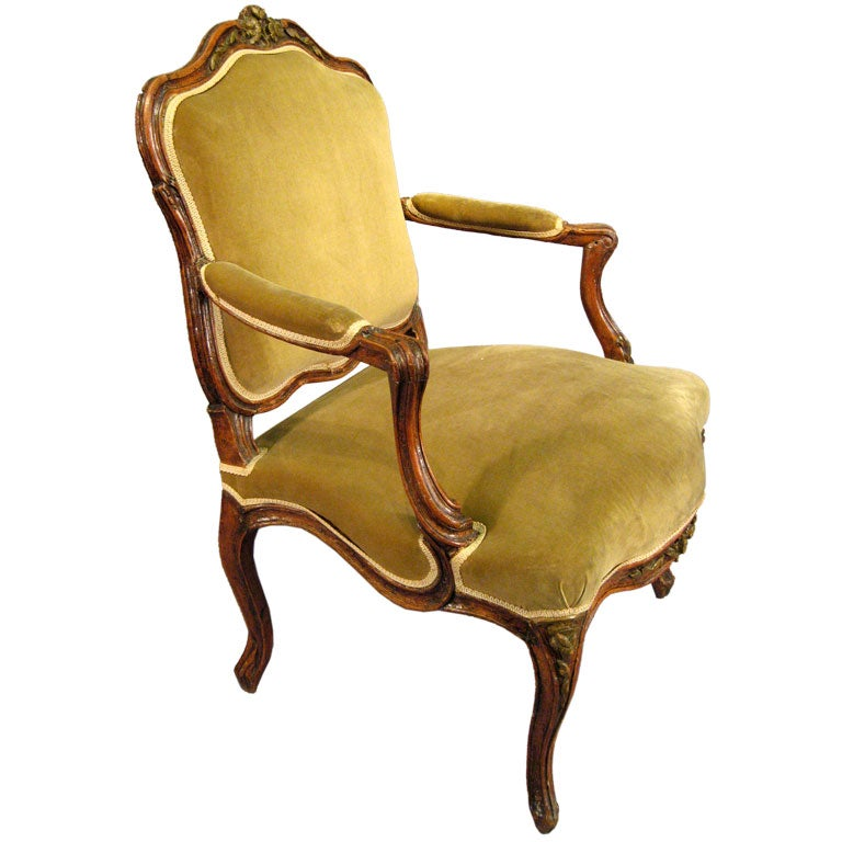 Louis XV Fauteuil in Walnut with Painted Accents, France c. 1760 For Sale