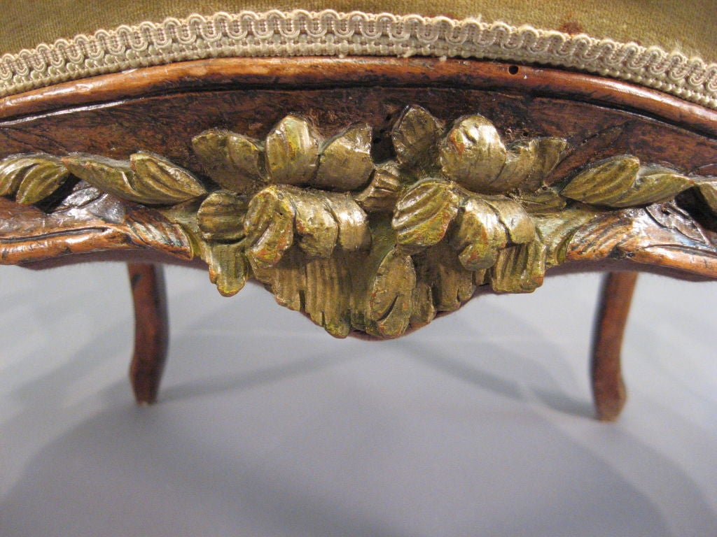 18th Century and Earlier Louis XV Fauteuil in Walnut with Painted Accents, France c. 1760 For Sale