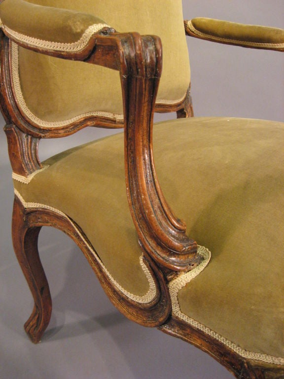 French Louis XV Fauteuil in Walnut with Painted Accents, France c. 1760 For Sale