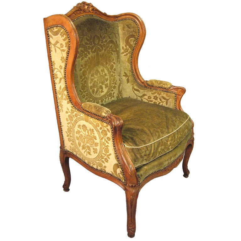 Louis Xv Design Walnut Wing Back Bergere France C 1850