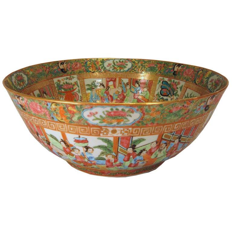 Chinese Rose Medallion porcelain Punch Bowl, c. 1840
