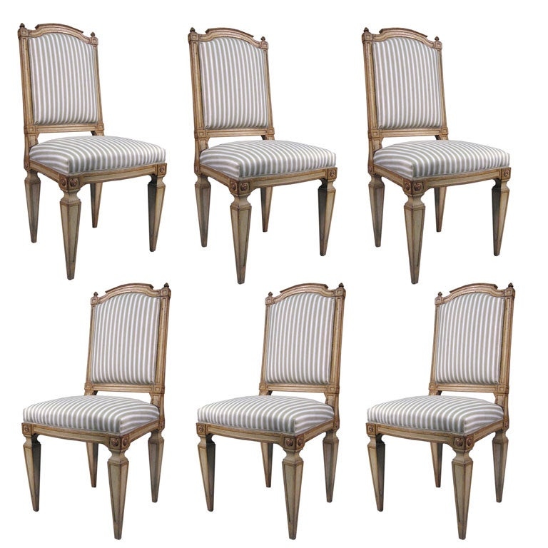 Set Of 8 Neoclassical Painted Dining Chairs, Italy, C. 1790 1