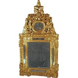 Petite Louis XVI Gilt-wood Mirror with Crest, France, c. 1780