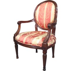 Louis XVI design Fautueil constructed in Walnut, Italy c. 1780