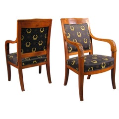 Pair of Empire design Fauteuils in Mahogany, France, circa 1880