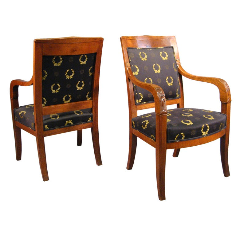 Pair of Empire design Fauteuils in Mahogany, France, circa 1880 For Sale
