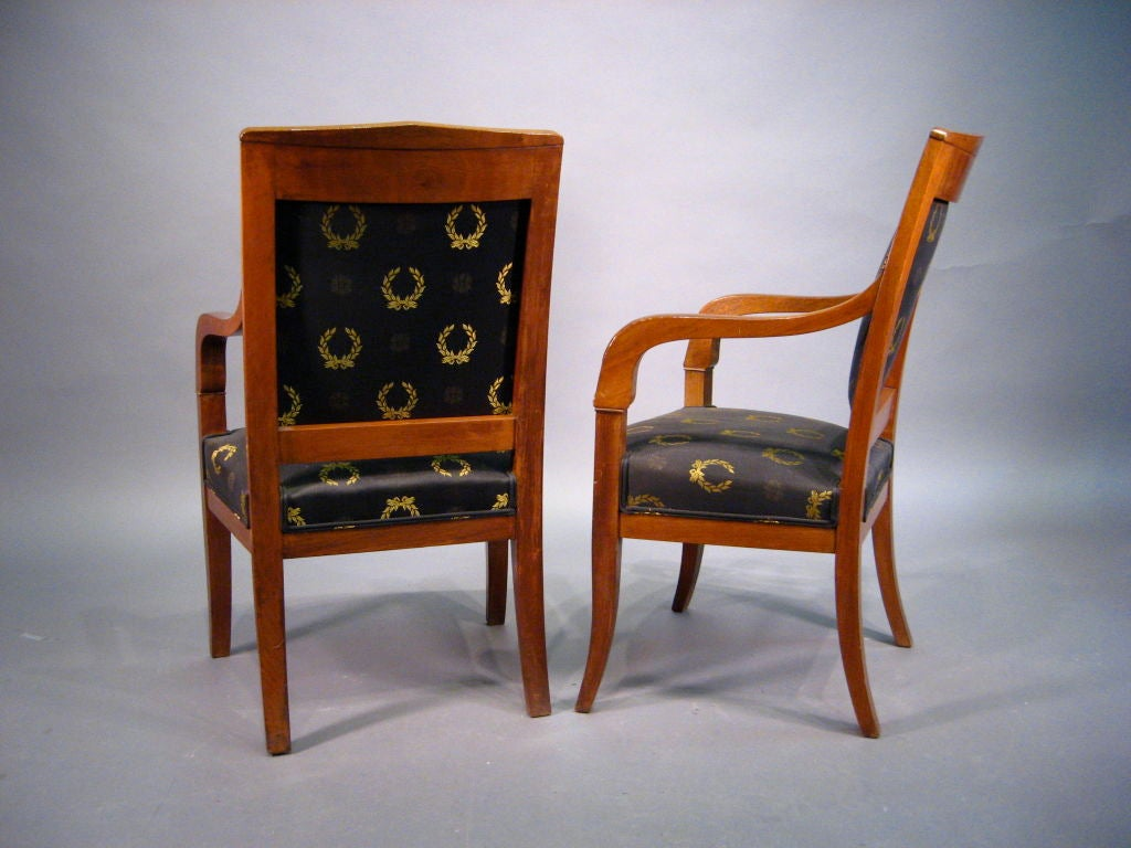 French Pair of Empire design Fauteuils in Mahogany, France, circa 1880 For Sale