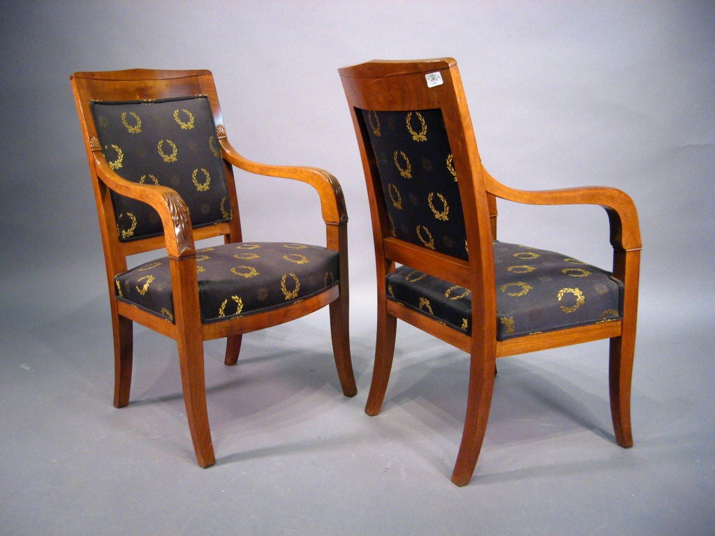 Pair of Empire design Fauteuils in Mahogany, France, circa 1880 In Good Condition For Sale In Atlanta, GA
