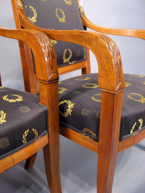 19th Century Pair of Empire design Fauteuils in Mahogany, France, circa 1880 For Sale