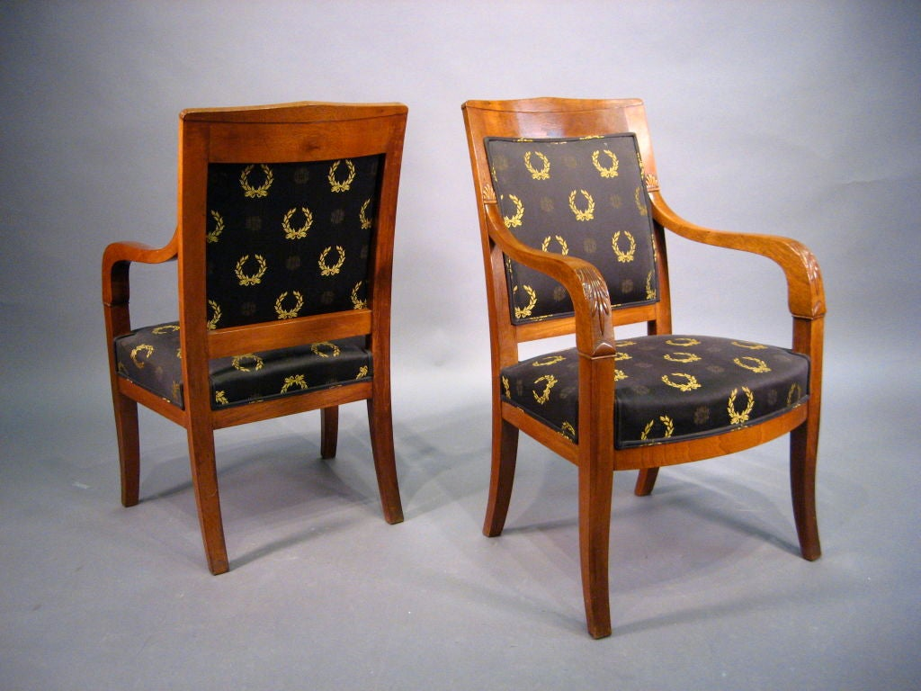 Pair of Empire design Fauteuils in Mahogany, France, circa 1880 For Sale 3