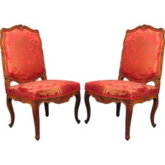 Pair Regence period Side Chairs in Beech, France c. 1720
