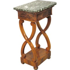 Petite Empire Period Table in Walnut and Marble, circa 1820