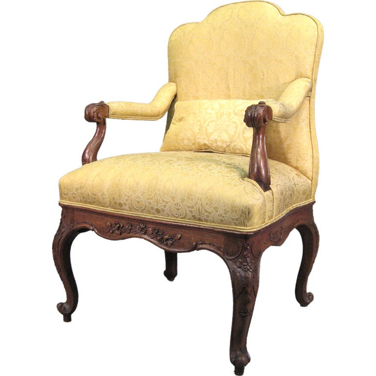 Unusual louis xv style walnut fauteuil france c 1850 at 1stdibs - Fauteuil style louis xv ...