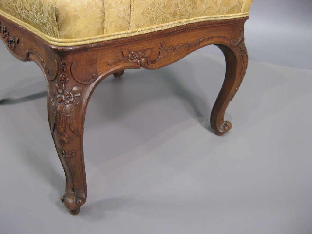 unusual louis xv style walnut fauteuil france c 1850 at. Black Bedroom Furniture Sets. Home Design Ideas