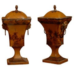 Pair Painted-Tole Chestnut Urns & Covers, 19th Century