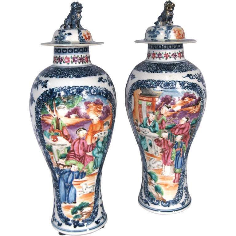 Pair Chinese Export Porcelain Vases and Covers, c. 1775 For Sale