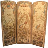 French Three Panel Needlework Screen with Birds, ca. 1890