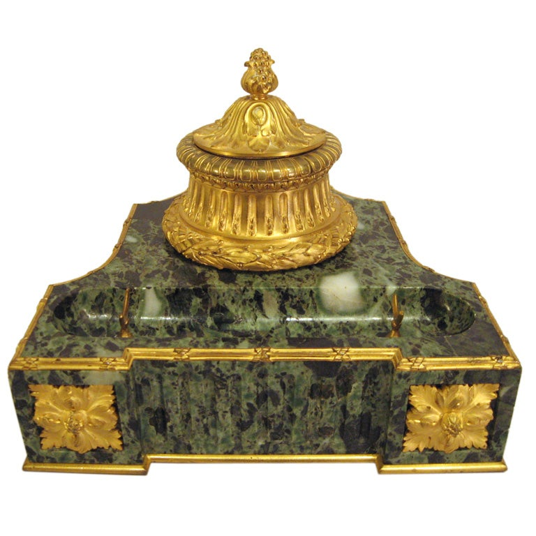 Empire Gilt Bronze Variegated Green Marble Desk Set