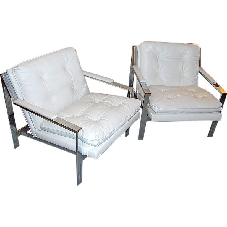 Milo Baughman Chrome and White Leather Lounge Chairs at 1stdibs