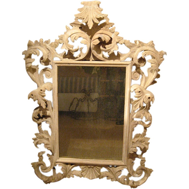 Large italian baroque mirror in carved pine at 1stdibs for Italian baroque mirror
