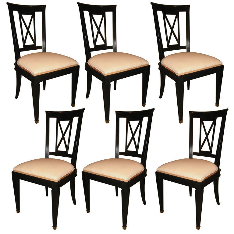 Dining Chair Sets Of 6: Set Of 6 Black Lacquer Dining Chairs At 1stdibs