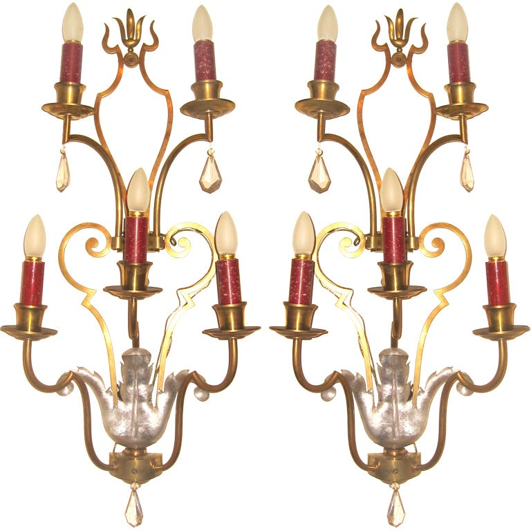 Large Art Deco Wall Sconces : Pair Of Large Art Deco Sconces at 1stdibs