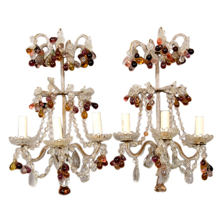 Decorative Glass Wall Lights : Pair Of Decorative Glass Bead Sconces For Sale at 1stdibs