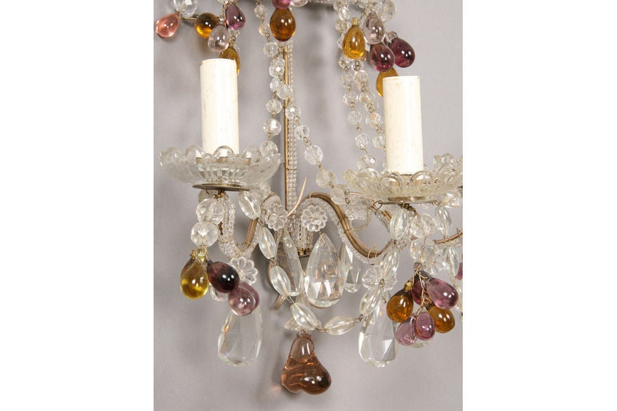 Decorative Glass Wall Sconces : Pair Of Decorative Glass Bead Sconces For Sale at 1stdibs